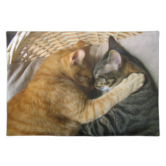 Two Sleeping Tabby Cats Cuddling Cloth Placemat