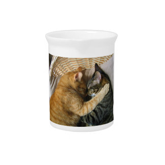 Two Sleeping Tabby Cats Cuddling Beverage Pitchers