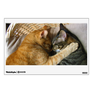 Two Sleeping Tabby Cats Cuddling Wall Sticker