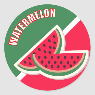 Two Sliced of Watermelon Round Stickers