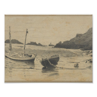 Two Small Boats Moored to Beach (from Scrapbook) , Poster