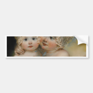 Two small Girls with Bonnets Car Bumper Sticker