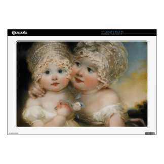 """Two small Girls with Bonnets Decal For 17"""" Laptop"""