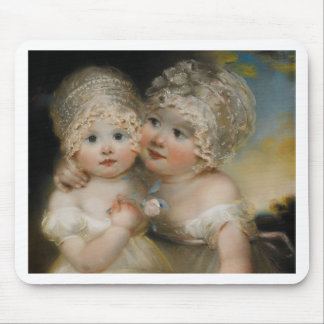Two small Girls with Bonnets Mouse Pad