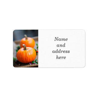 Two small pumpkins label