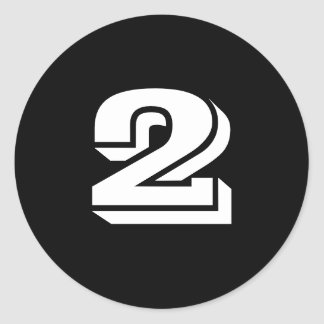 Two Small Round Black Number Stickers by Janz