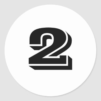 Two Small Round White Number Stickers by Janz