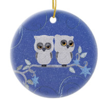 Two small white owls ceramic ornament