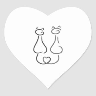 Two smiling cats heart sticker