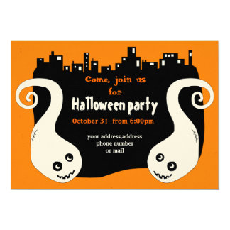 Two smiling ghosts Halloween invitation card