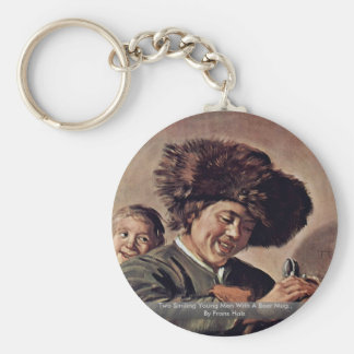 Two Smiling Young Men With A Beer Mug Key Chain