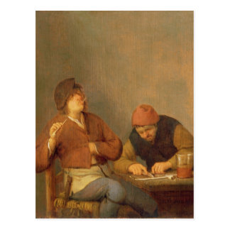 Two Smokers in an Interior, 1643 Postcard