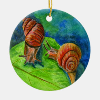 Two Snails on a Leaf - watercolor Ceramic Ornament
