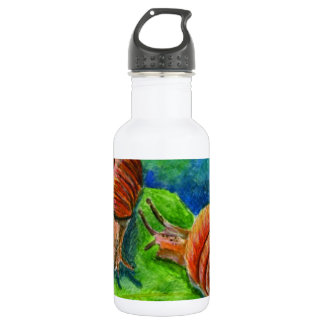 Two Snails on a Leaf - watercolor Stainless Steel Water Bottle