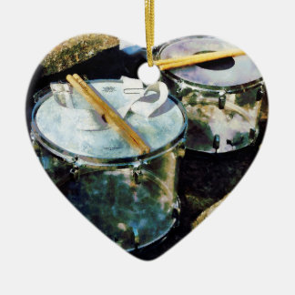 Two Snare Drums Double-Sided Heart Ceramic Christmas Ornament