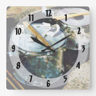 Two Snare Drums Square Wall Clock