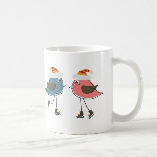 Two Snow Birds Ice Skating Mugs