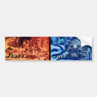 Two snow leopards fire and Ice Bumper Sticker