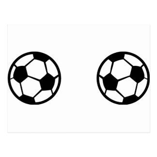 two soccer balls icon postcard