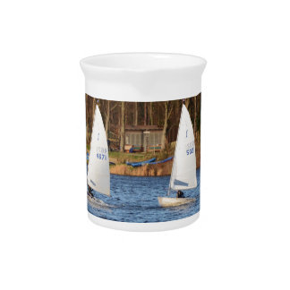 Two Solo Sailing Dinghies Beverage Pitcher