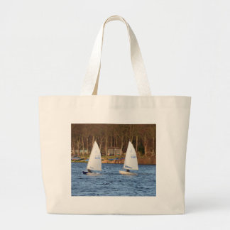 Two Solo Sailing Dinghies Large Tote Bag