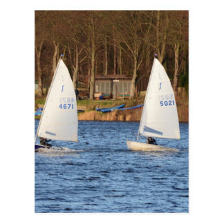Two Solo Sailing Dinghies Postcard