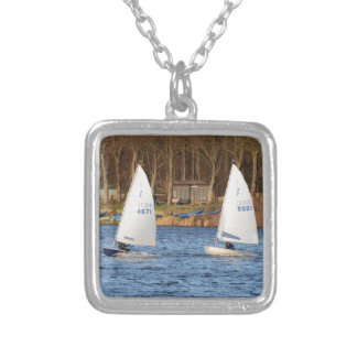 Two Solo Sailing Dinghies Silver Plated Necklace