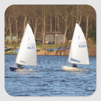 Two Solo Sailing Dinghies Square Sticker