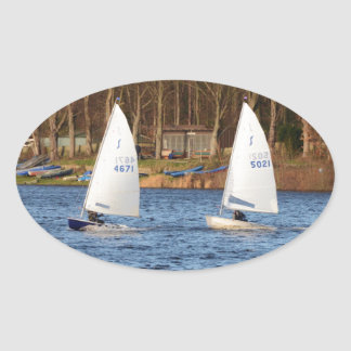 Two Solo Sailing Dinghies Sticker