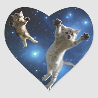 Two Space Cats Floating Around Galaxy Heart Sticker