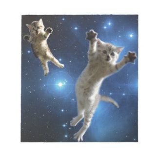 Two Space Cats Floating Around Galaxy Notepad