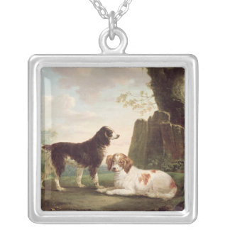 Two spaniels in a landscape silver plated necklace