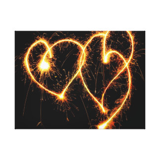 Two Sparkler Hearts Gallery Wrapped Canvas