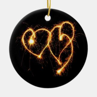 Two Sparkler Hearts Ceramic Ornament