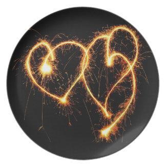 Two Sparkler Hearts Melamine Plate