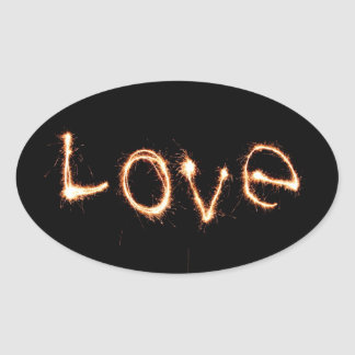 Two Sparkler Hearts Oval Sticker