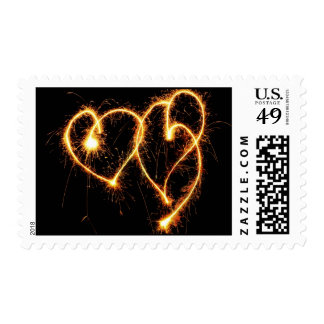 Two Sparkler Hearts Postage