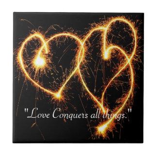 Two Sparkler Hearts Tile