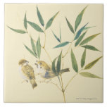 Two Sparrows Large Square Tile