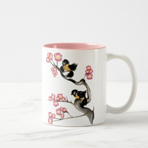Two Sparrows On A Branch Mugs