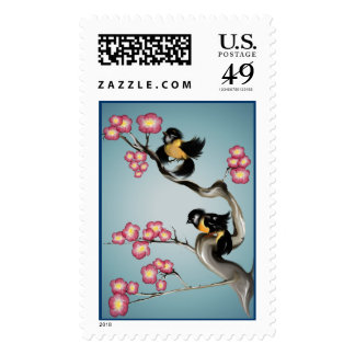Two Sparrows On A Branch Postage