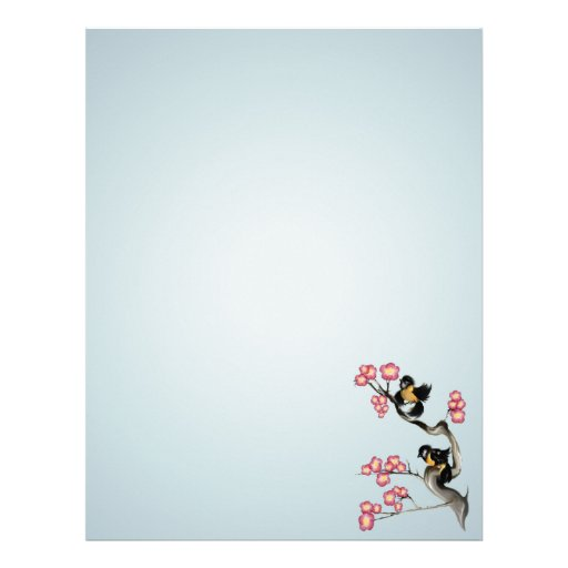 Two Sparrows On A Branch stationery_vertical Customized Letterhead