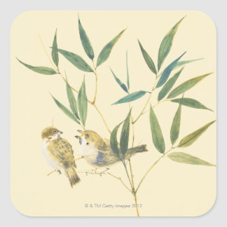 Two Sparrows Square Sticker