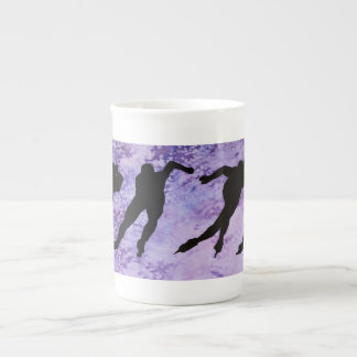 Two Speed Skaters on Purple Porcelain Mugs