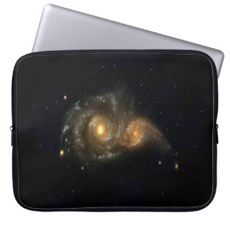 "Two Spiral Galaxies Collide Neoprene Sleeve 15"""