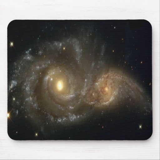 Two Spiral Galaxies Colliding In Space Mousepad