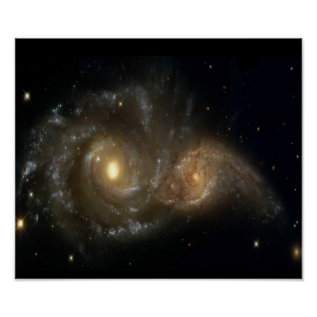 Two Spiral Galaxies Colliding Poster at Zazzle