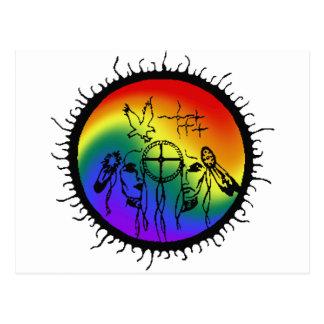 Two-Spirit Rainbow Swirl Design Postcard
