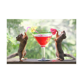 Two Squirrels Drinking a Cocktail Stretched Canvas Prints