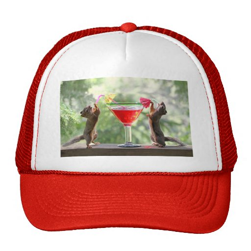 Two Squirrels Drinking a Cocktail Hat